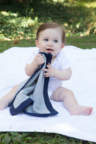 Security Blanket - Organic Lovey Blanky™ Gray/Navy