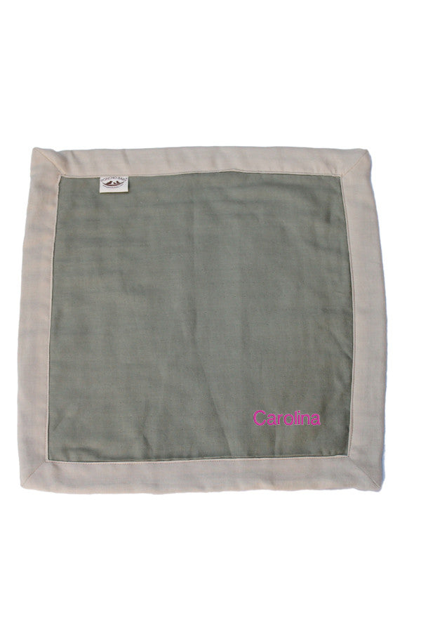 Personalized Security Blanket - Organic Lovey Blanky™ Olive/Beige