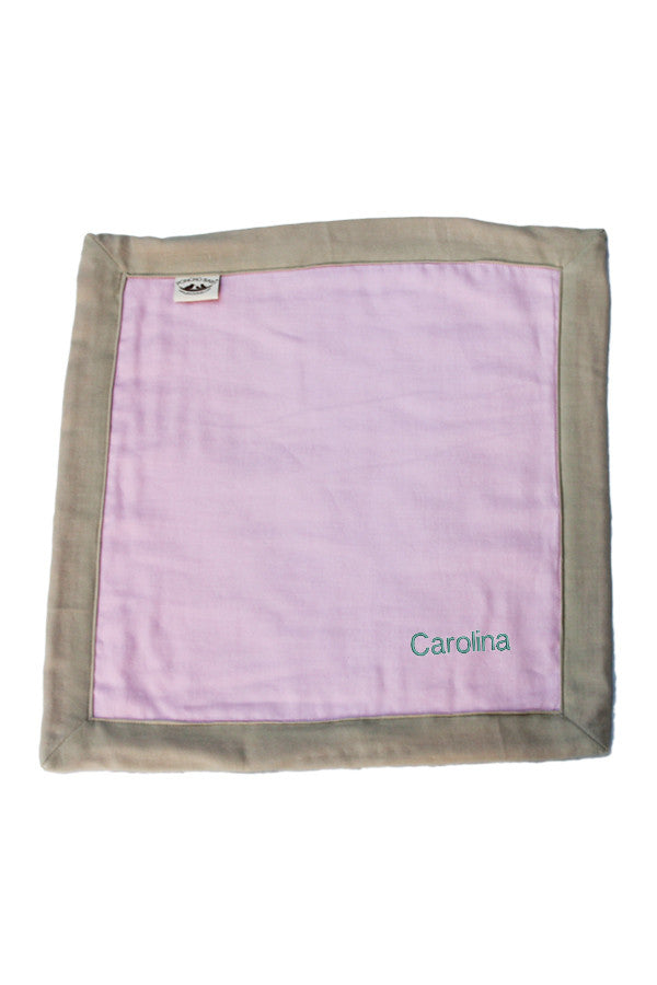 Personalized Security Blanket - Organic Lovey Blanky™ Pink/Beige