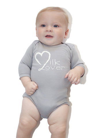 Organic Onesie - Long Sleeve Gray (milk lover)