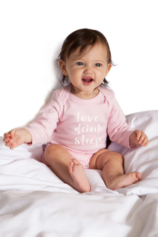 Organic Onesie - Long Sleeve Pink (love, drink, sleep)