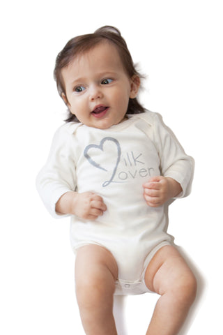 Organic Onesie - Long Sleeve - Off White (milk lover)