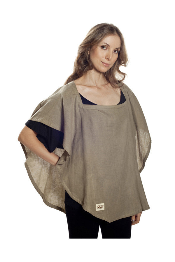 Nursing Cover  - 100% Cotton Muslin Olive Oval
