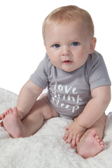 Organic Onesie - Short Sleeve Gray (love, drink, sleep)