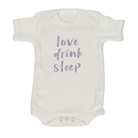 Organic Onesie - Short Sleeve Off White (love, drink, sleep)