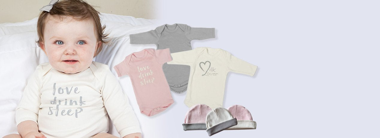 <h2>Organic Layette</h2><p>Stylish baby onesies and hats</p><h3>SHOP NOW ></h3>