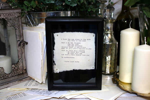 Custom Poetry in Shadow Box Frame by Tyler Kent White
