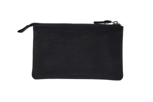 FINGERSCROSSEDS black leather pouch