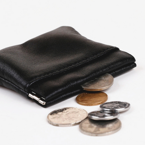 Leather Squeeze Coin Pouch Coin Purse Change Holder For Mens/Womens 3 Pocket