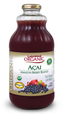 Lakewood Organic Acai Amazon Berry Juice Blend, 32 Ounce (Pack of 6)