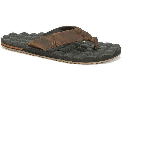 Volcom Recliner Leather flip flops. Leather upper with small Volcom logo pin. Comfy and soft recliner cushion footbed. EVA outsole. Imported.