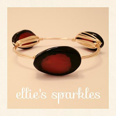 Black/Brown Agate Oval Bangle