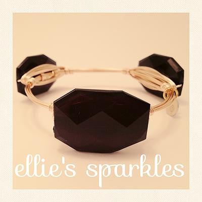 Black Faceted Rectangle Bangle