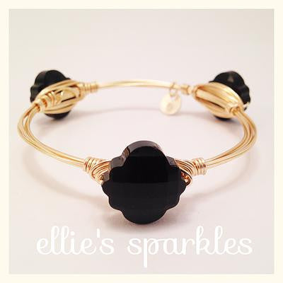Black Quatrefoil Crystal Bangle