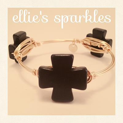Black Square Cross Bangle