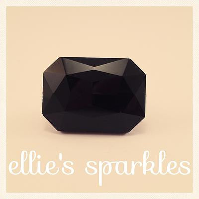Black Statement Ring (rectangle crystal)