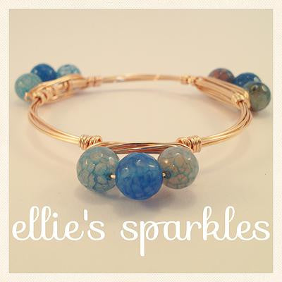 Blue Agate Cluster Bangle