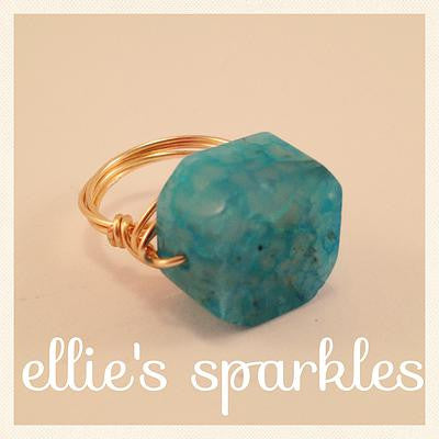 Blue Agate Statement Ring