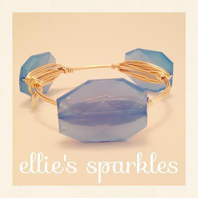 Blue Faceted Rectangle Bangle