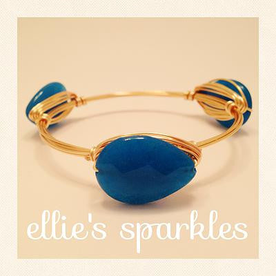 Blue Quartz Teardrop Bangle