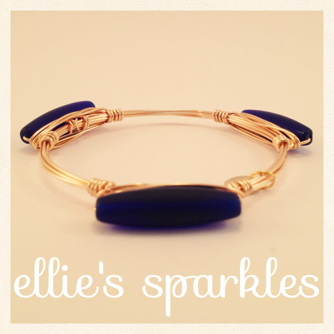 Blue Sea Glass Bar Bangle
