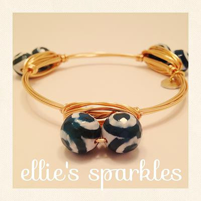 Blue and White Swirl Bangle
