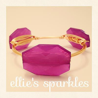 Bright Purple Faceted Rectangle Bangle