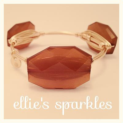 Brown Faceted Rectangle Bangle