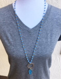 Blue Beaded Chain and Blue Druzy Pendant Necklace *style 1
