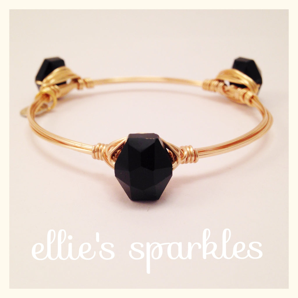 Dainty Black Hexagon Bangle