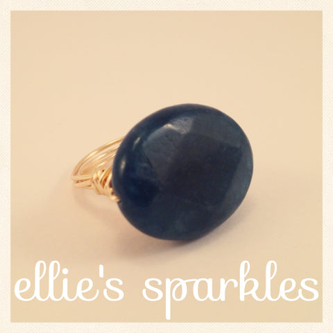 Dark Blue Oval Ring