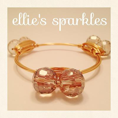 Double Champagne Crystal Bangle