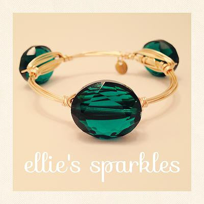 Emerald Crystal Oval Bangle