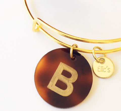Gold Tortoise Initial Charm Bangle