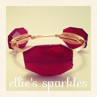 Garnet Faceted Rectangle Bangle