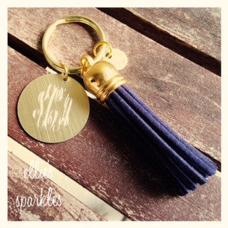 Gold Monogrammed Keychain with Tassel