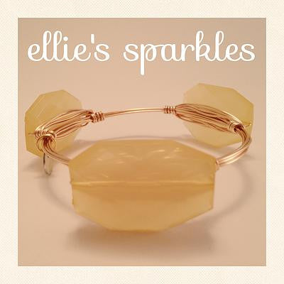 Golden Yellow Faceted Rectangle Bangle