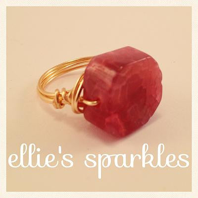 Hot PInk Agate Statement Ring