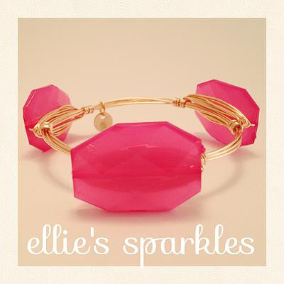 Hot Pink Faceted Rectangle Bangle