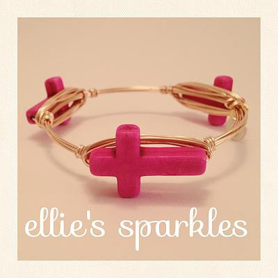 Hot Pink Skinny Cross Bangle