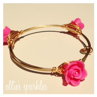 Dainty Hot Pink Flower Bangle
