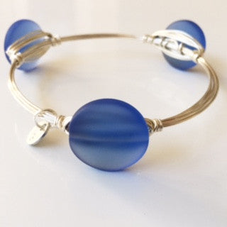 Ocean Blue Sea Glass Bangle