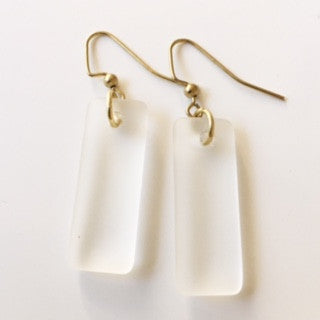 Frosted Clear Seaglass Earrings