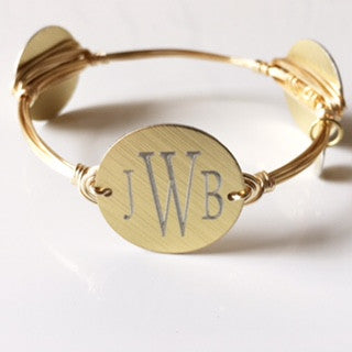 Gold or Silver Monogrammed Bangle