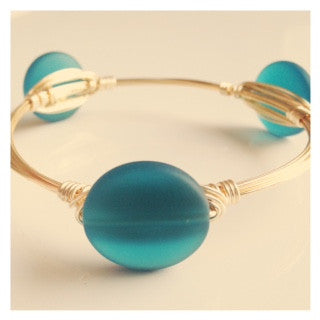 Emerald Sea Glass Coin Bangle