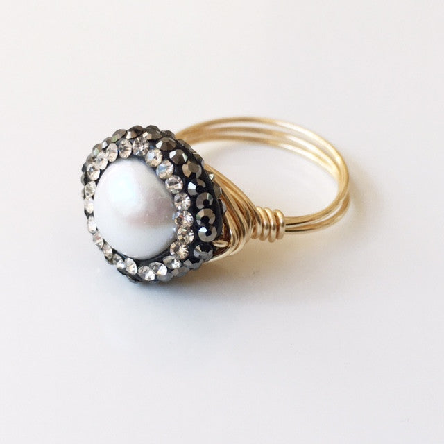 Pave Pearl Wire Wrapped Ring
