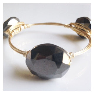 Dark Bronze Crystal Oval Bangle