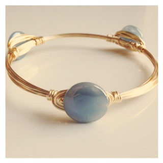 Dainty Slate Blue Coin Bangle