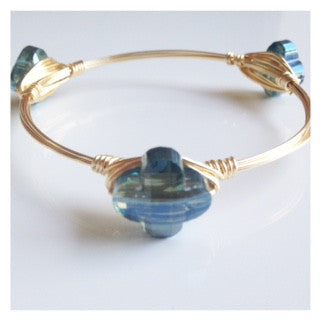 Dainty Iridescent Blue Crystal Flower Bangle