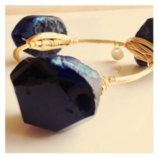 Large Black Stone (with hints of Blue) Bangle